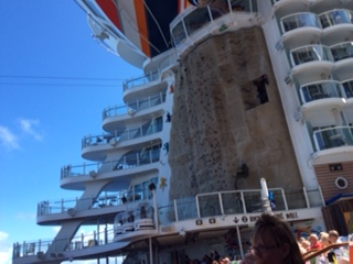 Rock climbing aboard Allure of the Seas