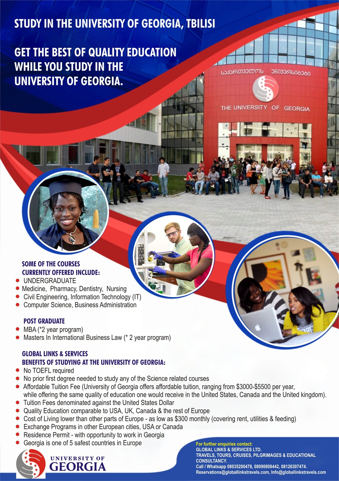 ADMISSION FOR UNDERGRADUATE STUDENTS AGES 17 AND ABOVE NOW ON AT THE UNIVERSITY OF GEORGIA-TBILISI!!!